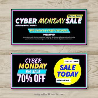 Banners abstractos de rebajas de lunes cibernético