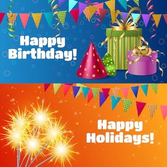 Banners de accesorios festivos realistas
