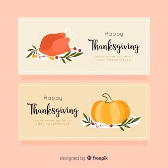 Banners de acción de gracias dibujados a mano