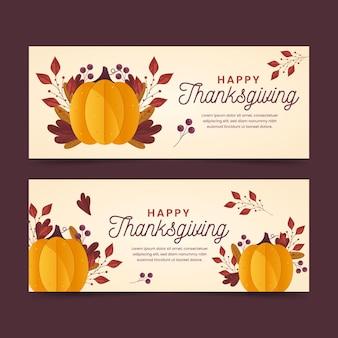 Banners de acción de gracias en diseño plano