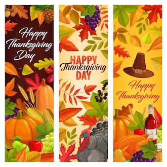 Banners de acción de gracias feliz con hojas caídas, cosecha de otoño, calabaza, vino, pavo, miel y frutas.