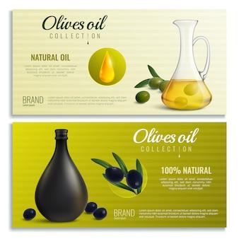 Banners de aceite de aceitunas realistas
