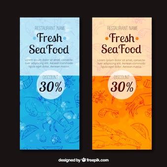 Banners de acuarela con bocetos de marisco
