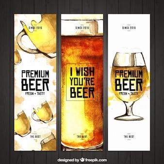 Banners de acuarela de cerveza