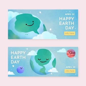 Banners de acuarela del día de la madre tierra
