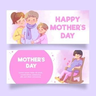 Banners de acuarela del día de la madre