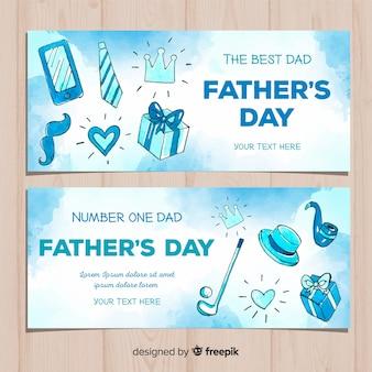 Banners de acuarela del día del padre