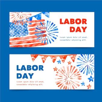 Banners de acuarela día del trabajo de estados unidos