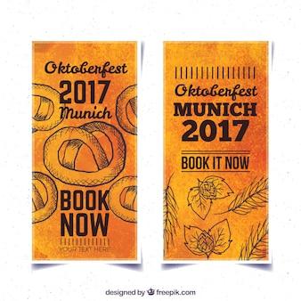 Banners de acuarela de oktoberfest con dibujos