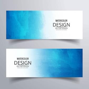 Banners con acuarelas azules