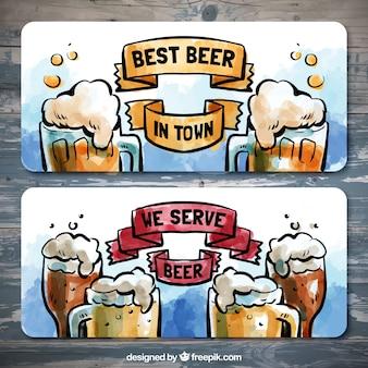 Banners de acuarelas con jarras de cervezas