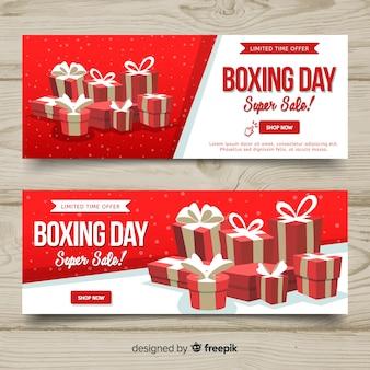 Banners adorables de boxing day con diseño plano