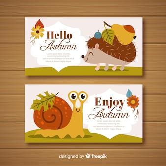 Banners adorables de otoño dibujados a mano