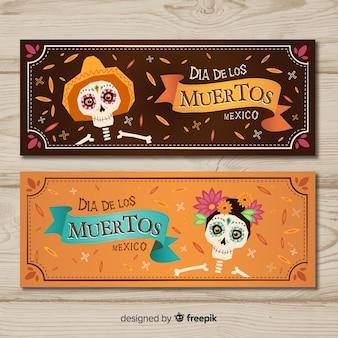 Banners adorables del día de los muertos con diseño plano