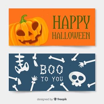 Banners adorables de halloween dibujados a mano