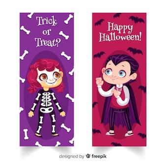 Banners adorables de halloween con diseño plano