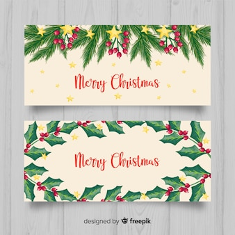 Banners adorables de navidad en acuarela