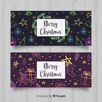 Banners adorables de navidad dibujados a mano