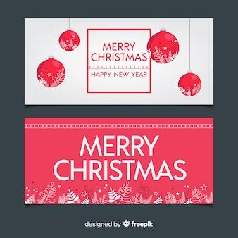 Banners adorables de navidad con diseño plano