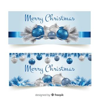 Banners adorables de navidad con diseño realista