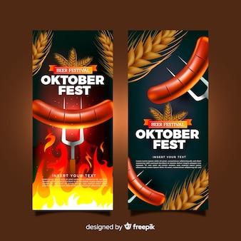Banners adorables del oktoberfest con diseño realista