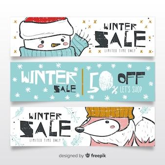 Banners adorables de rebajas de invierno dibujados a mano
