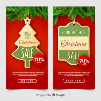 Banners adorables de rebajas de navidad con diseño realista