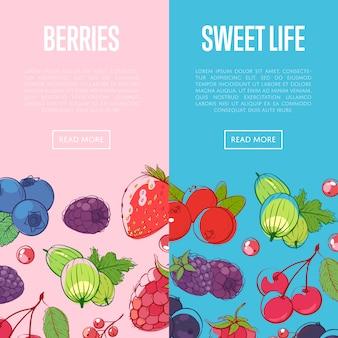 Banners de alimentos saludables y dulces con bayas