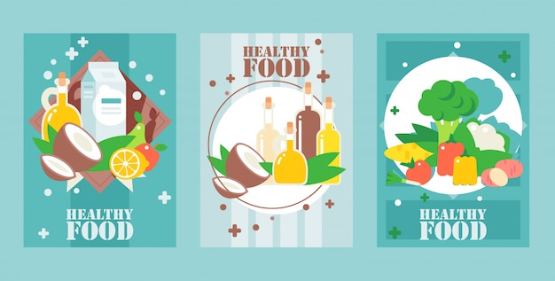 Banners de alimentos saludables estilo plano para envases de alimentos portadas carteles de supermercados banners de sitios web