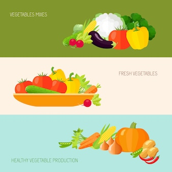 Banners de alimentos con verduras de colores