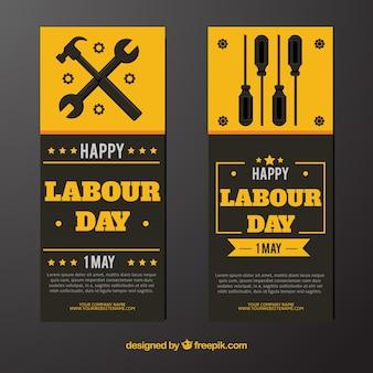 Banners amarillos con herramientas