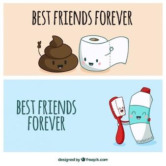 Banners de amigos inseparables dibujados a mano