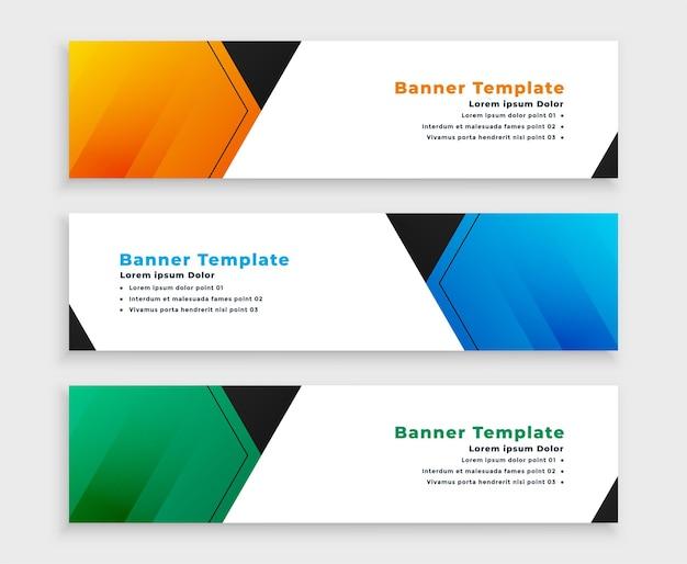 Banners anchos de visualización web en tres colores