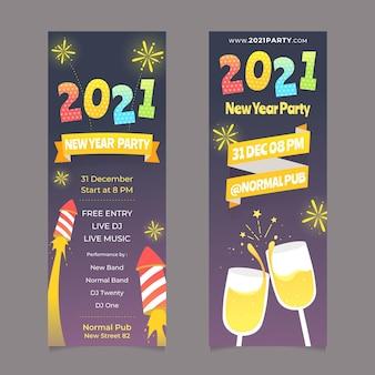 Banners de año nuevo 2021 fuegos artificiales y champán.