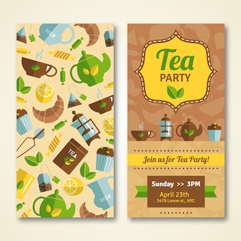 Banners de anuncio de fiesta del té