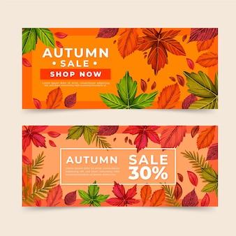 Banners de anuncio de venta otoño dibujado a mano