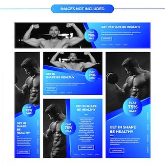 Banners de anuncios de gimnasia azul brillante para redes sociales y marketing digital