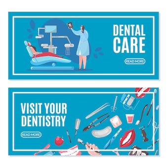Banners de atención dental y odontología con médico y paciente en silla haciendo ilustración de rayos x de diente.