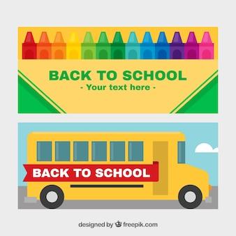 Banners de autobús escolar y lápices de colores