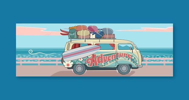 Banners de aventura dibujados a mano