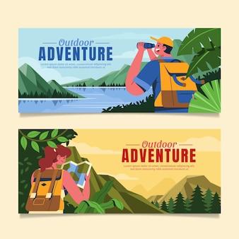 Banners de aventura plana