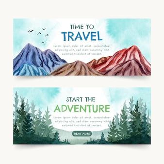 Banners de aventuras en acuarela