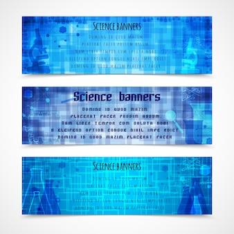 Banners azules acerca de la ciencia