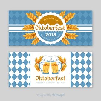 Banners azules y blancos del oktoberfest