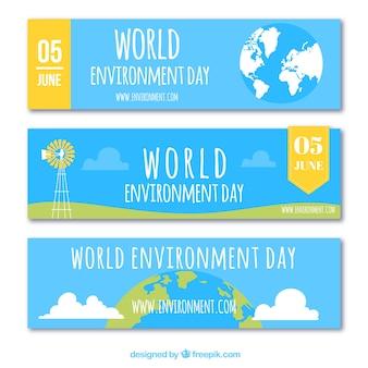 Banners azules con elementos de color para el día mundial del medioambiente