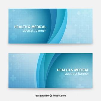 Banners azules médicos con ondas