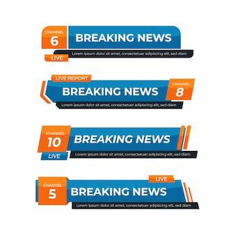 Banners azules y naranjas de noticias de última hora