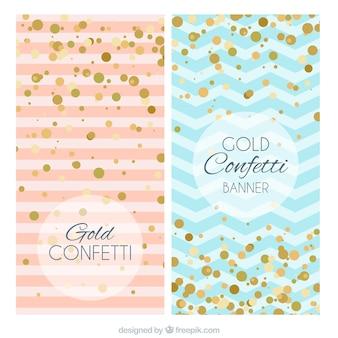 Banners azules y rosas con confeti dorado