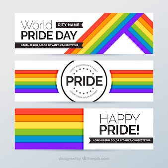 Banners con bandera colorida del día del orgullo