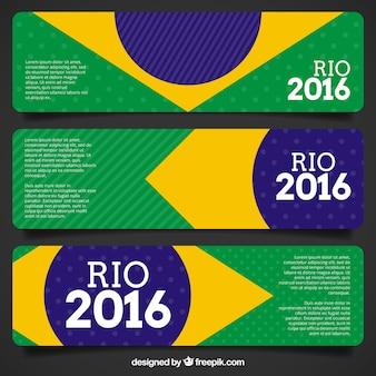 Banners de banderas de brasil de juegos olímpicos